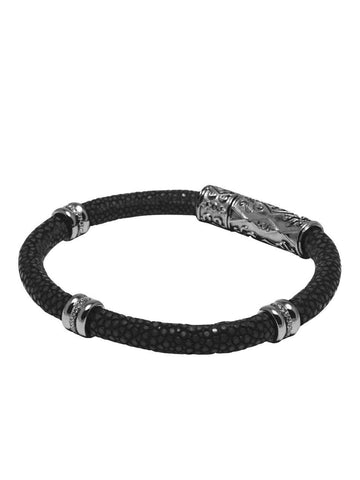 Men's Black Stingray Bracelet with Black Rhodium Ring Accents