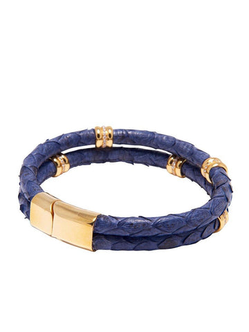 Men's Python Collection - Dark Blue Python with Gold Ring Accents - Nialaya Jewelry  - 3