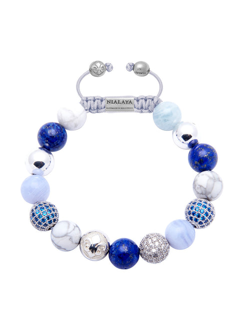Women's Beaded Bracelet with Blue Lapis, Blue Lace Agate and Howlite - Nialaya Jewelry  - 1