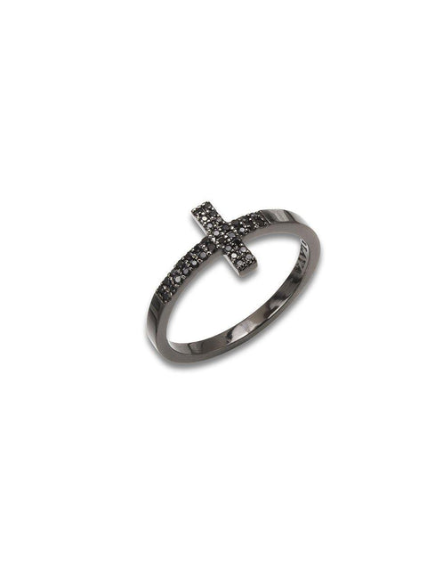 Women's Black Cross Ring