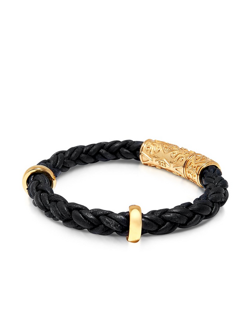 Men's Black Braided Leather Bracelet With Gold Lock - NIALAYA INC