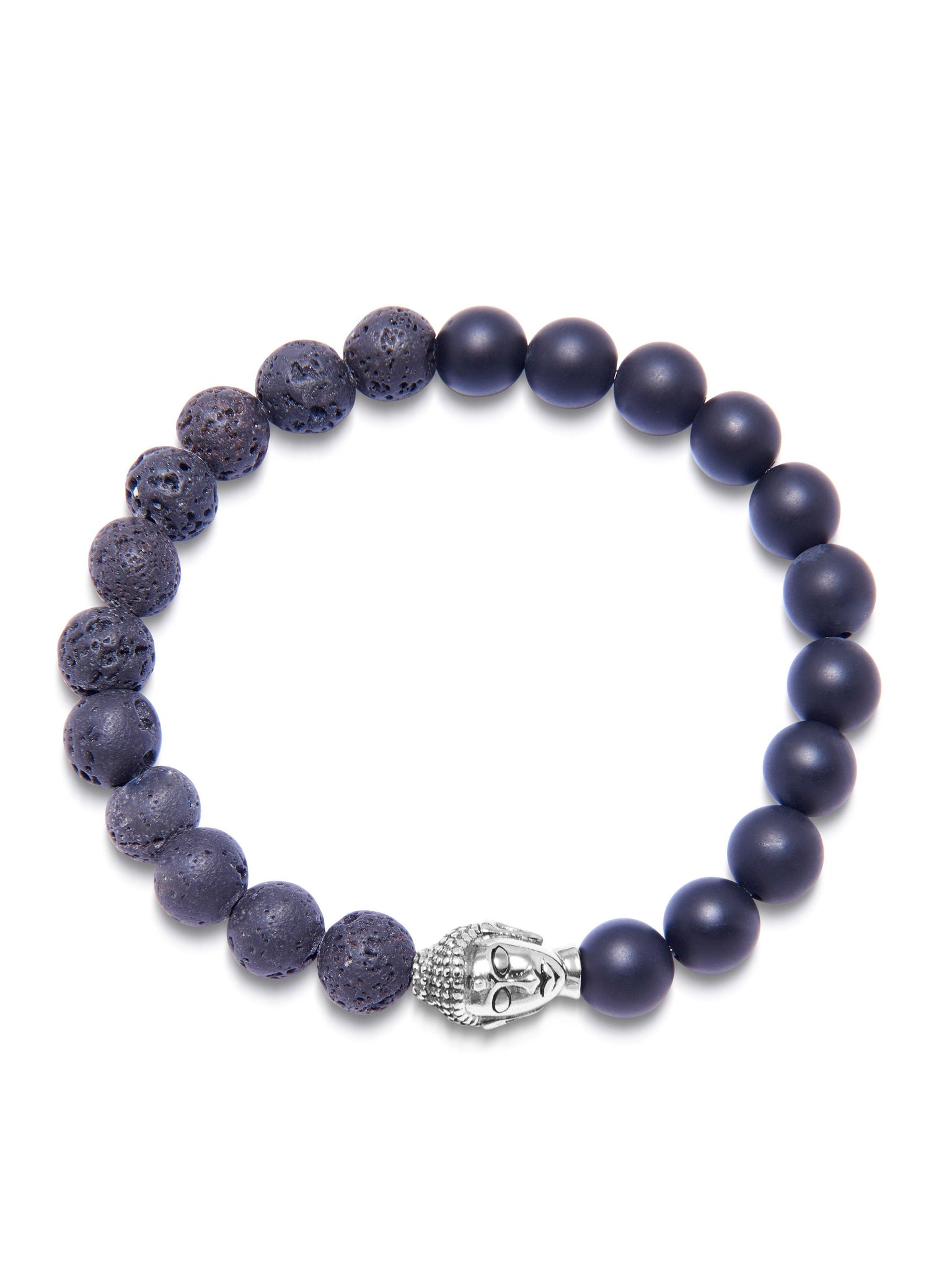 Men's Wristband with Matte Onyx and Lava Stone with Silver Buddha - Nialaya Jewelry