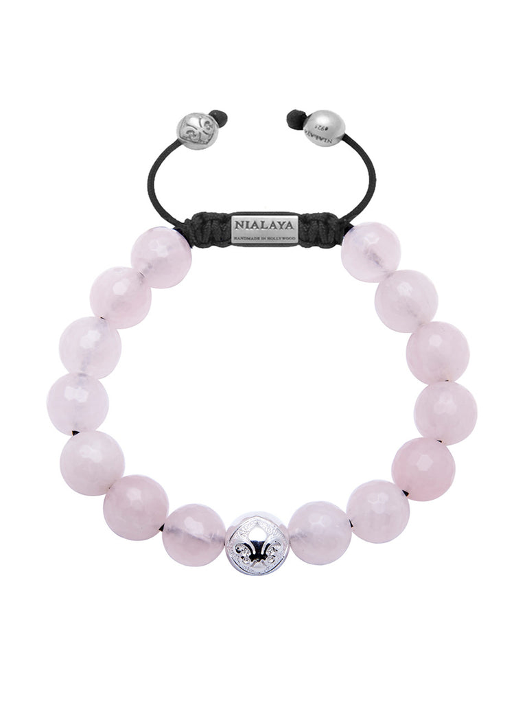 Women's Classic Silver & Rose Quartz - Nialaya Jewelry  - 1