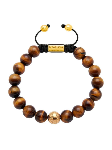 Men's Beaded Bracelet with Gold and Brown Tiger Eye - Nialaya Jewelry  - 1