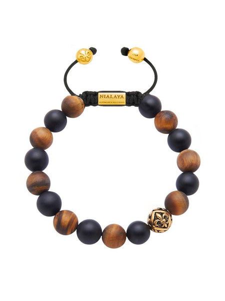 Men's Beaded Bracelet with Matte Onyx, Matte Brown Tiger Eye and Gold - Nialaya Jewelry  - 1