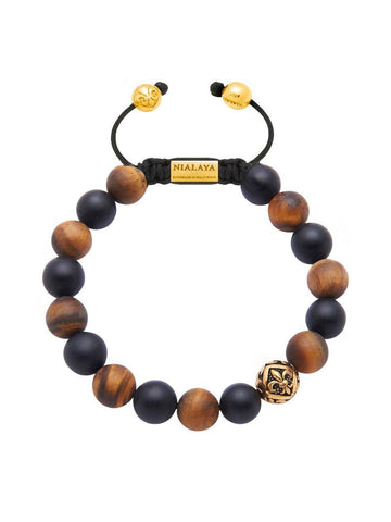 Men's Beaded Bracelet with Matte Onyx, Matte Brown Tiger Eye and Gold