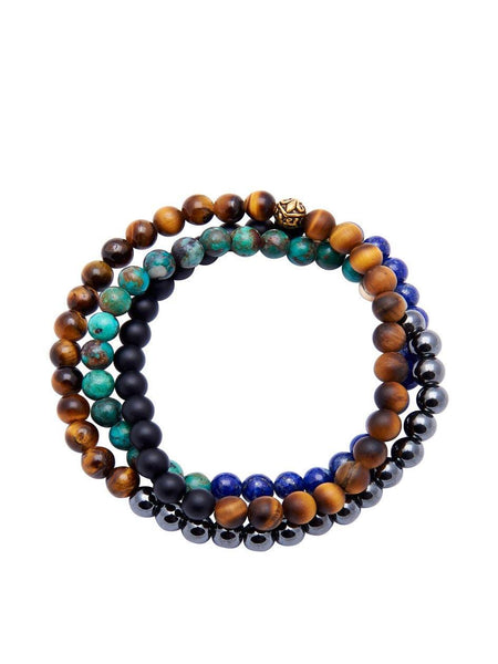Men's Wrap-Around Brown Tiger Eye, Blue Lapis, Hematite - Nialaya Jewelry