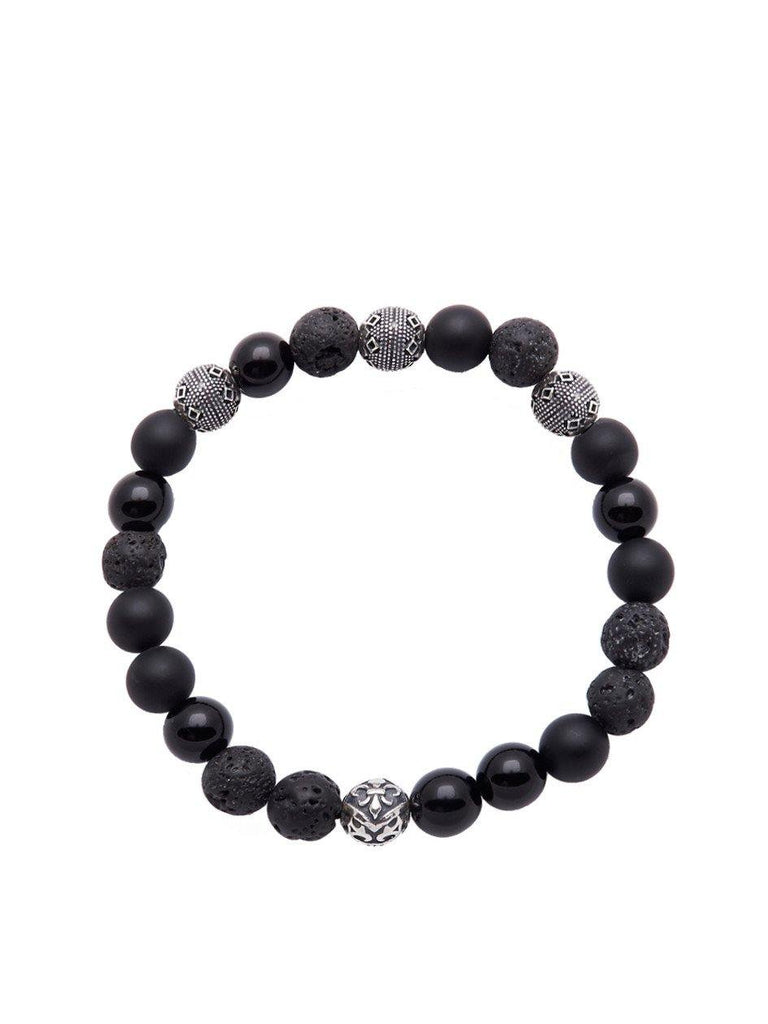 Men's Wristband With Lava Stones - Nialaya Jewelry