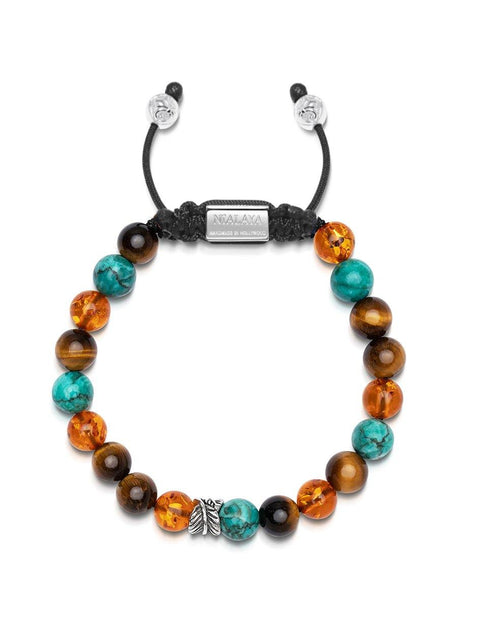 NIALAYA X JOHNNY EDLIND: Unisex Beaded Bracelet with Turquoise, Brown Tiger Eye, Amber and Silver Feather Beads - Nialaya Jewelry