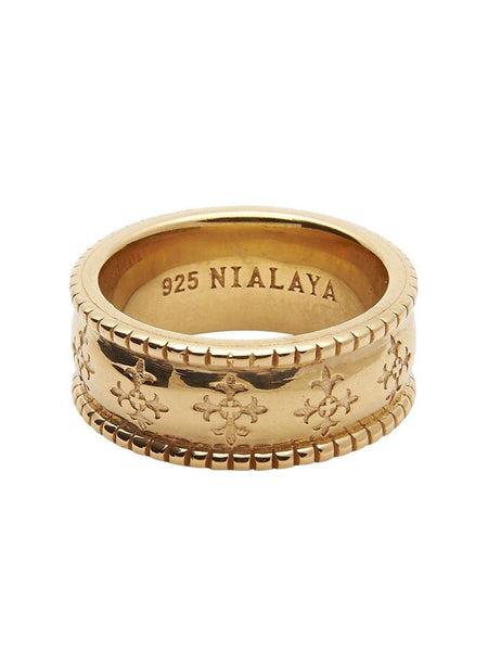 Men's Gold Cross Patterned Ring - Nialaya Jewelry  - 1