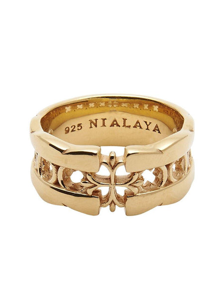Men's Gold Cross Cut-Out Ring - Nialaya Jewelry  - 1