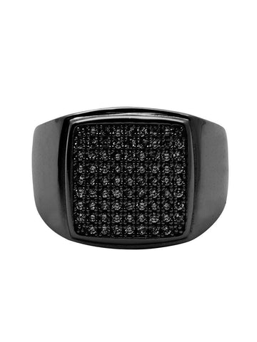 Men's Black Rhodium CZ Signet Ring