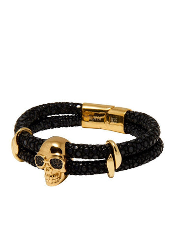 Men's Black Stingray Bracelet with Gold Skull