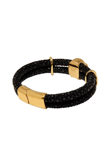 Men's Black Stingray Bracelet with Gold Skull - Nialaya Jewelry  - 3