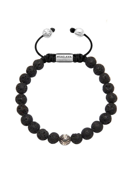 Men's Bayon Beaded Bracelet with Lava Stone - Nialaya Jewelry  - 1