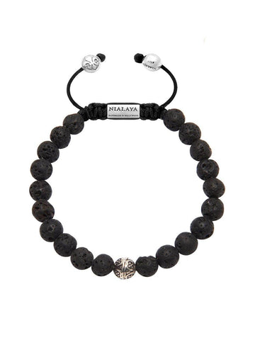 Men's Bayon Beaded Bracelet with Lava Stone