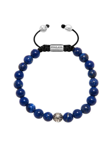 Men's Bayon Beaded Bracelet with Blue Lapis