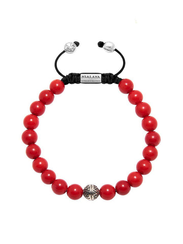 Men's Bayon Beaded Bracelet with Red Coral