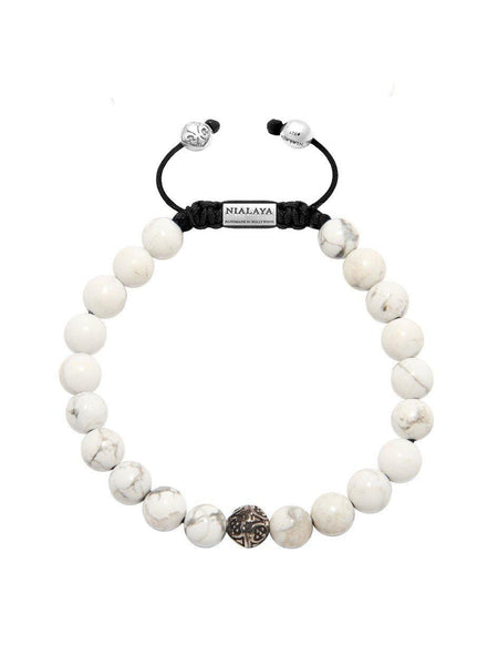 Men's Bayon Beaded Bracelet with Howlite - Nialaya Jewelry  - 1