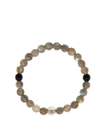 Women's Wristband wtih Labradorite and Black Agate
