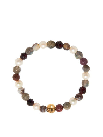 Women's Wristband with Labradorite, Pearl, Ruby and Garnet