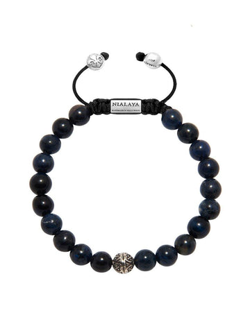Men's Bayon Beaded Bracelet with Blue Coral