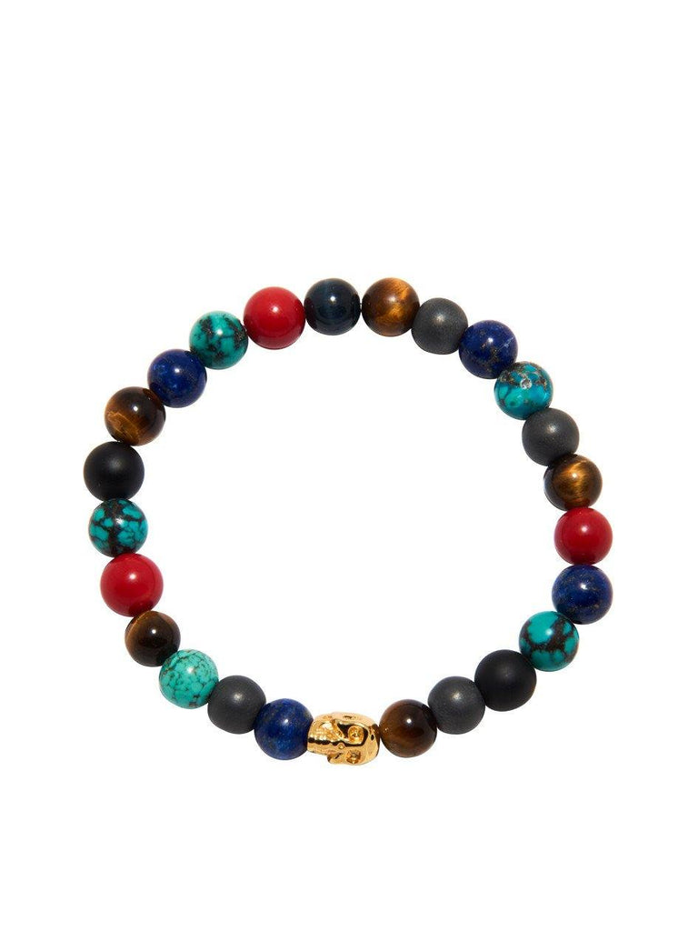Men's Wristband Multi-Colored with Gold Buddha