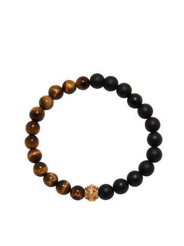 Men's Wristband with Gold Cross Bead