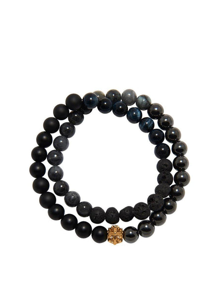 Men's Wrap Around Bracelet with Gold Cross Bead - Nialaya Jewelry