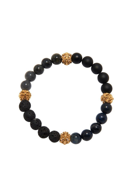 Men's Wristband with Gold Cross Beads - Nialaya Jewelry