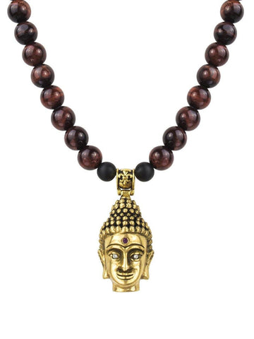 Men's Beaded Necklace with Red Tiger Eye and Gold Buddha Pendant