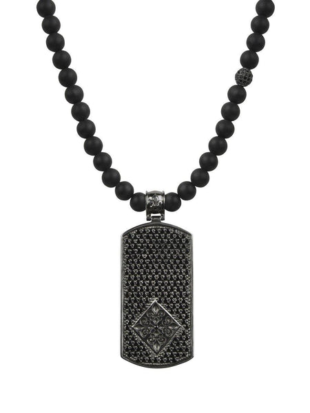 Men's Beaded Necklace with Matte Onyx and Black Dog Tag Pendant - Nialaya Jewelry  - 2