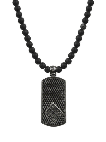 Men's Beaded Necklace with Matte Onyx and Black Dog Tag Pendant - Nialaya Jewelry  - 4