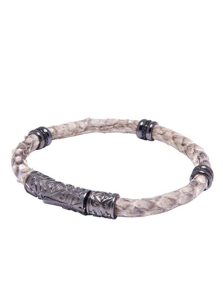 Men's Python Collection - Natural Python with Black Rhodium Ring Accents - Nialaya Jewelry  - 2