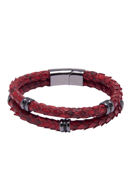 Men's Python Collection - Red Python with Black Rhodium Ring Accents - Nialaya Jewelry  - 2