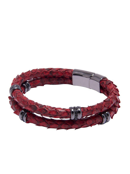Men's Python Collection - Red Python with Black Rhodium Ring Accents - Nialaya Jewelry  - 1