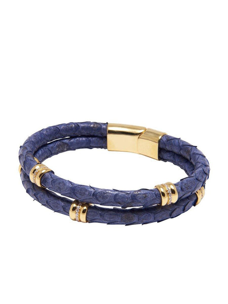 Men's Python Collection - Dark Blue Python with Gold Ring Accents - Nialaya Jewelry  - 1