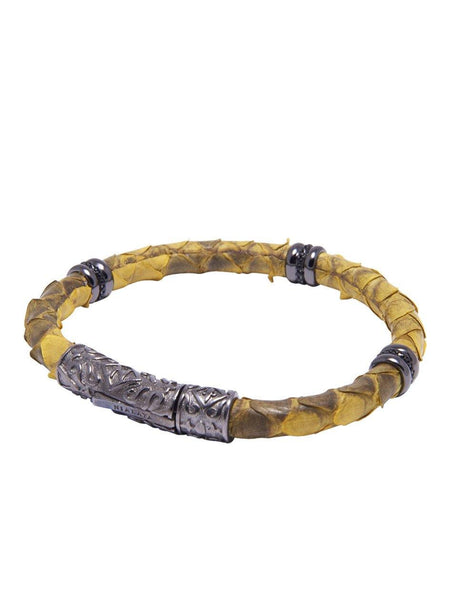 Men's Python Collection - Yellow Python with Black Rhodium Ring Accents - Nialaya Jewelry  - 2