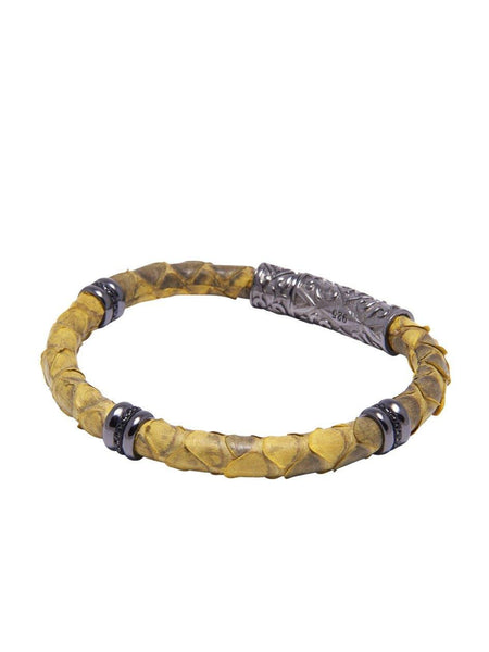 Men's Python Collection - Yellow Python with Black Rhodium Ring Accents - Nialaya Jewelry  - 1
