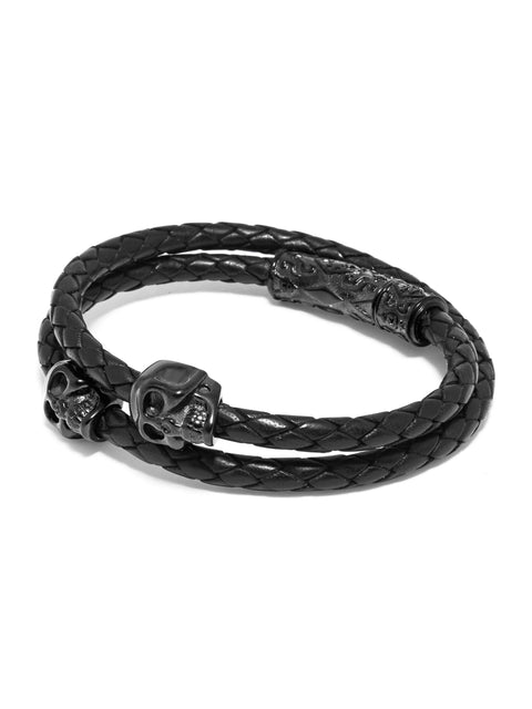 Men's Black Wrap-Around Leather Bracelet with Black Skulls - NIALAYA INC