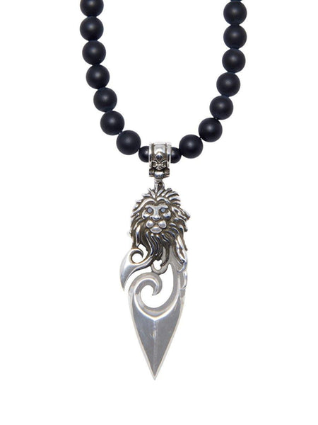 Men's Beaded Necklace with Matte Onyx and Silver Lion Pendant - Nialaya Jewelry  - 1