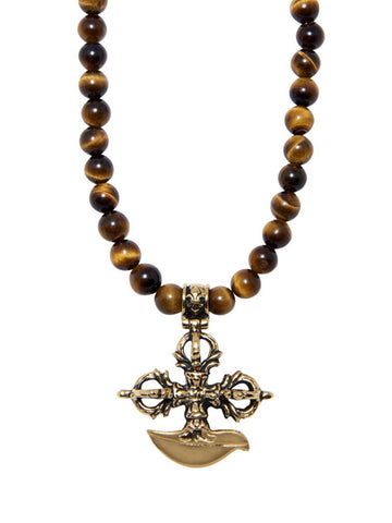 Men's Beaded Necklace with Brown Tiger Eye and Gold Cross Pendant