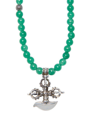 Men's Beaded Necklace with Green Agate and Cross Pendant