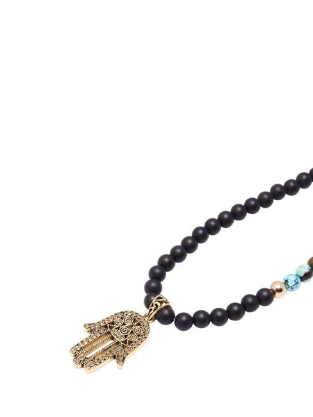 Men's Beaded Necklace with Matte Onyx and Turquoise - Nialaya Jewelry  - 3