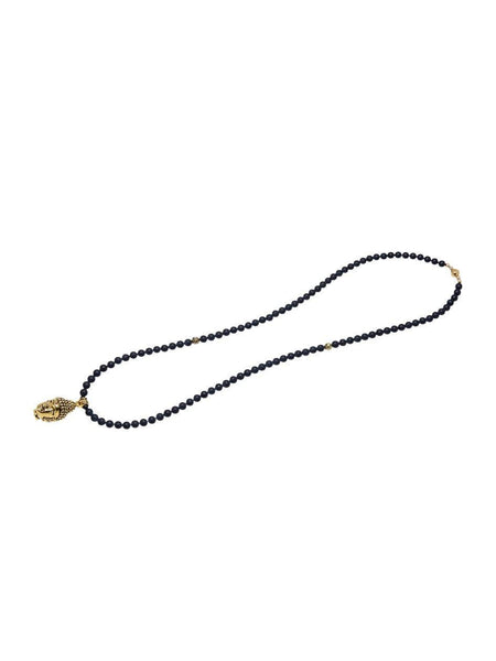 Men's Beaded Necklace with Matte Onyx and Gold Buddha Head - Nialaya Jewelry  - 3