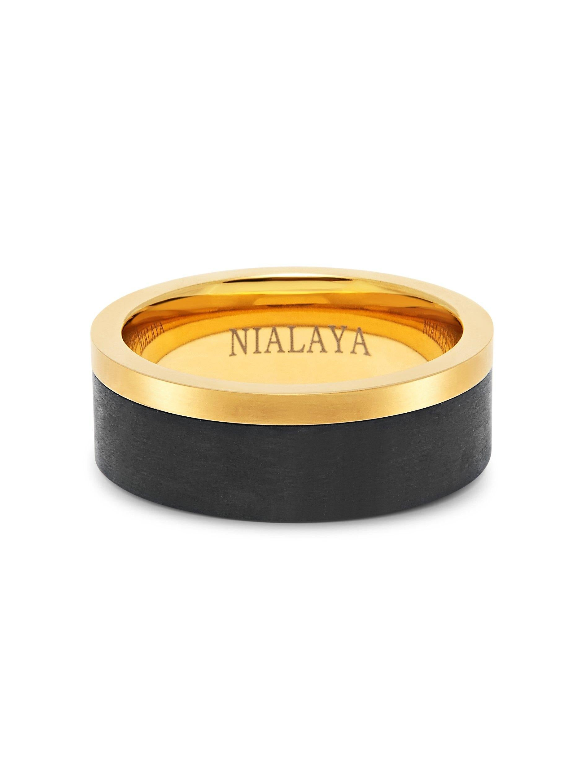 Men's Carbon Fiber Ring with Gold Band - NIALAYA INC