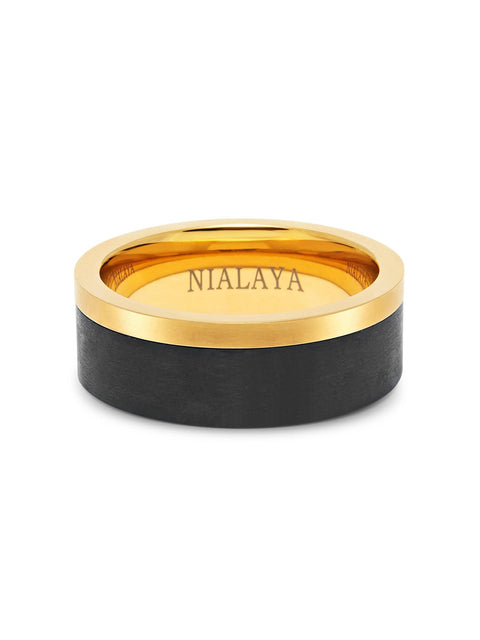 Men's Carbon Fiber Ring with Gold Band