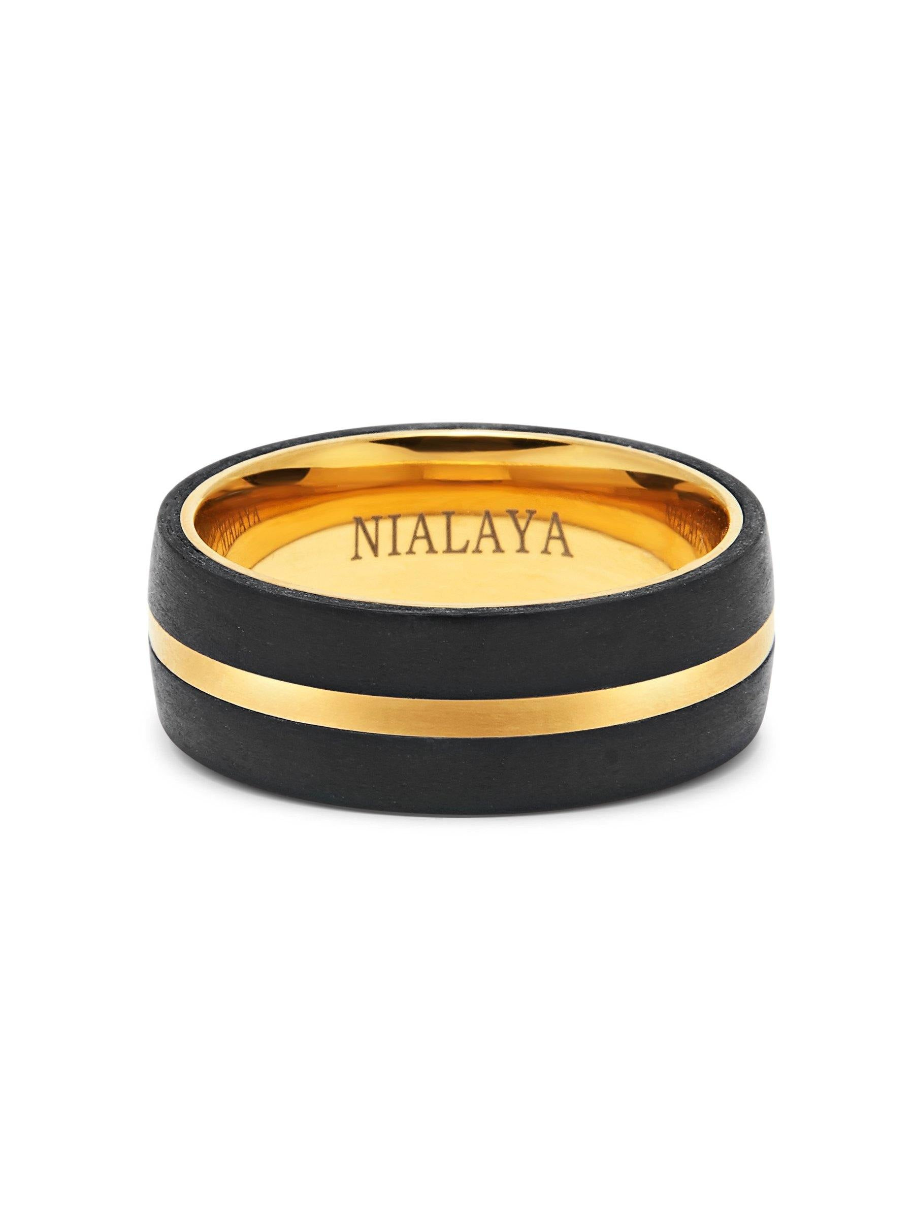 Men's Carbon Fiber Ring with Gold Detail - NIALAYA INC