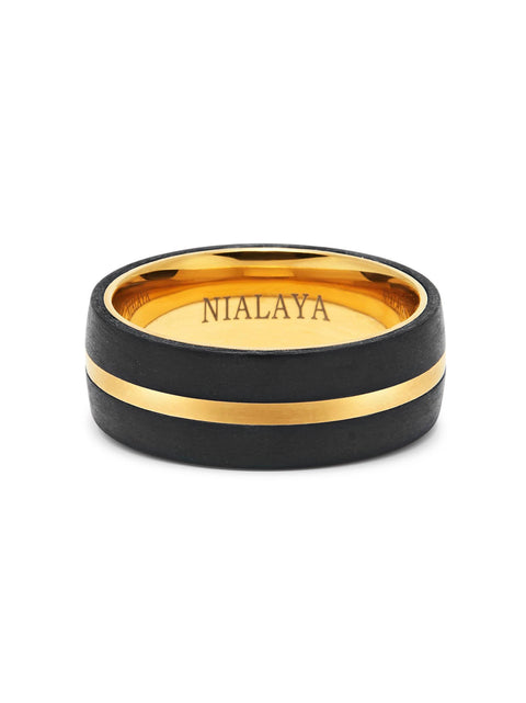 Men's Carbon Fiber Ring with Gold Detail
