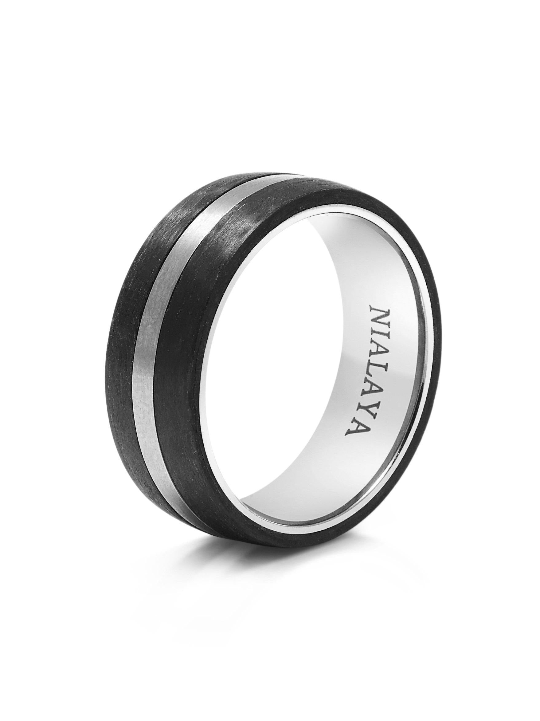 fiber wedding soha products inlaid carbon black ceramic rings titanium band bands onyx ring with inlay